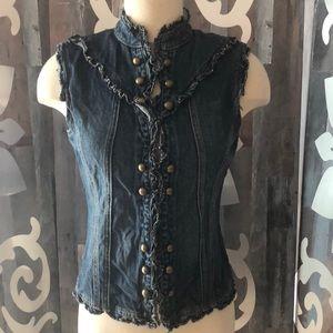 Star Jeans denim gold button vest steampunk